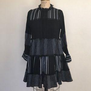 NWT Adorable Zara Black & White Boho 70's Dress S